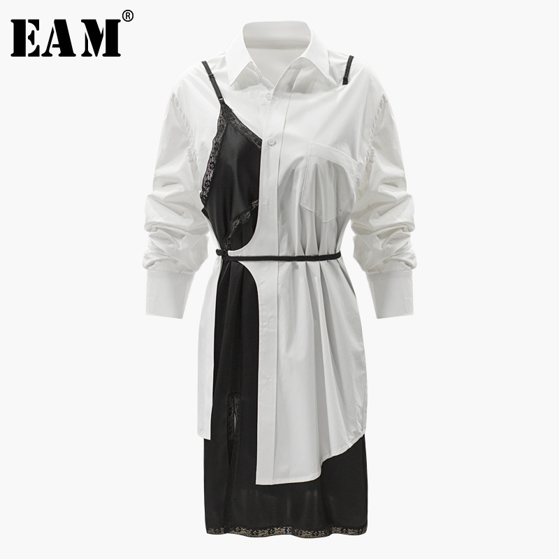 [EAM] 2018 New Summer Fashion Tide White Patchwork Lace Hit Color Fake Two Piece Turn-down Color Single Button Woman Dress S576