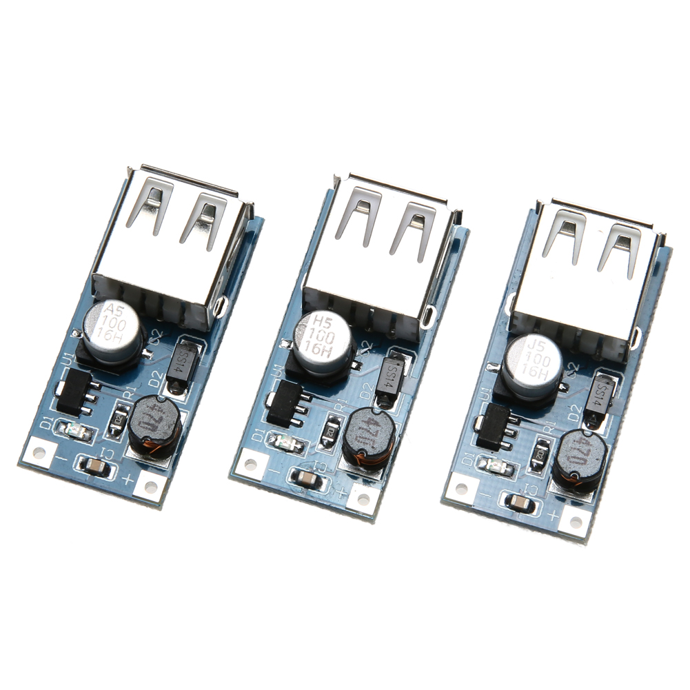 3pcs DC Step-up Boost Module USB Power Boost Circuit Board 0.9V 5V to 5V 60 34x16.2mm Module with Input Voltage Indicator Light produino 5v voltage boost mobile power module green 1a