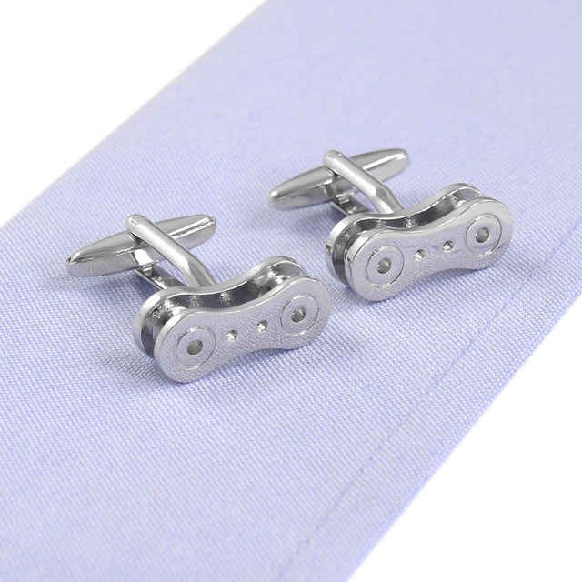 Personality Classical Punk Style Bicycle Chain Modeling Men's Shirt Cufflinks Wedding Fancy Silver
