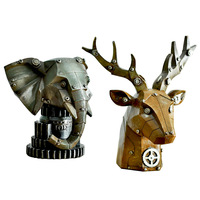 European style retro deer head elephant individual mechanical style deer head birthday gift idea home decoration