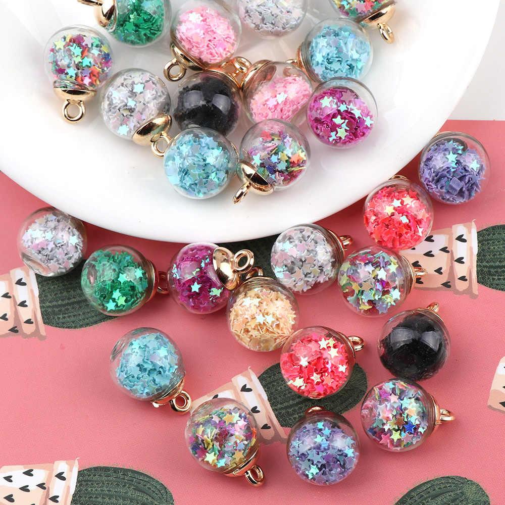 10 Pz/pacco 16 Millimetri di Stile Coreano Colorful Palla di Vetro Trasparente Sabbie Mobili Star Paillettes Fai da Te Pendenti E Ciondoli Pendenti E Ciondoli Accessori Dei Monili