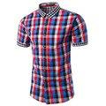 2016 New Summer Mens Short Sleeve Plaid Shirts Casual Slim Fit Social Business Dress Shirts Vetement Homme Asia Size M-3XL TU202