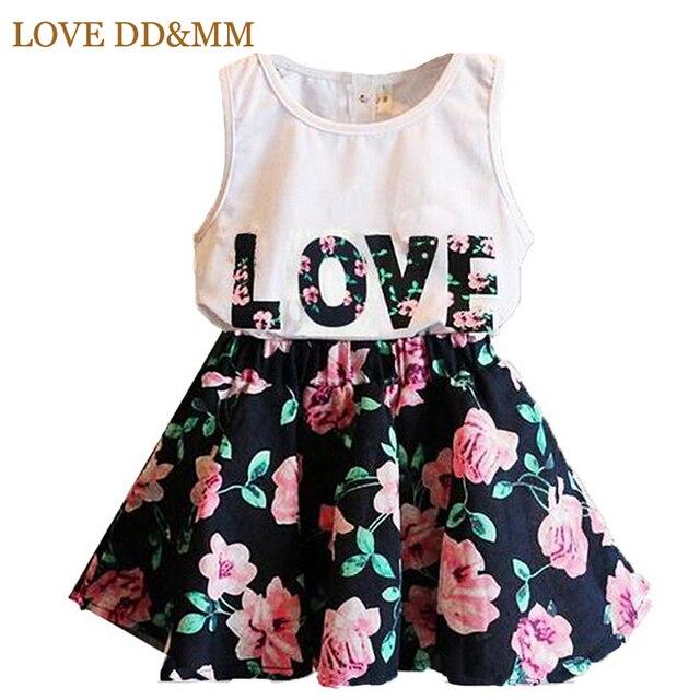 ערכות בגדי בנות 2017 חדש קיץ מכתב בגדי בנות בגדי ילדי חליפות בגדי ילדי חצאית קצרה אפוד פרח אהבה