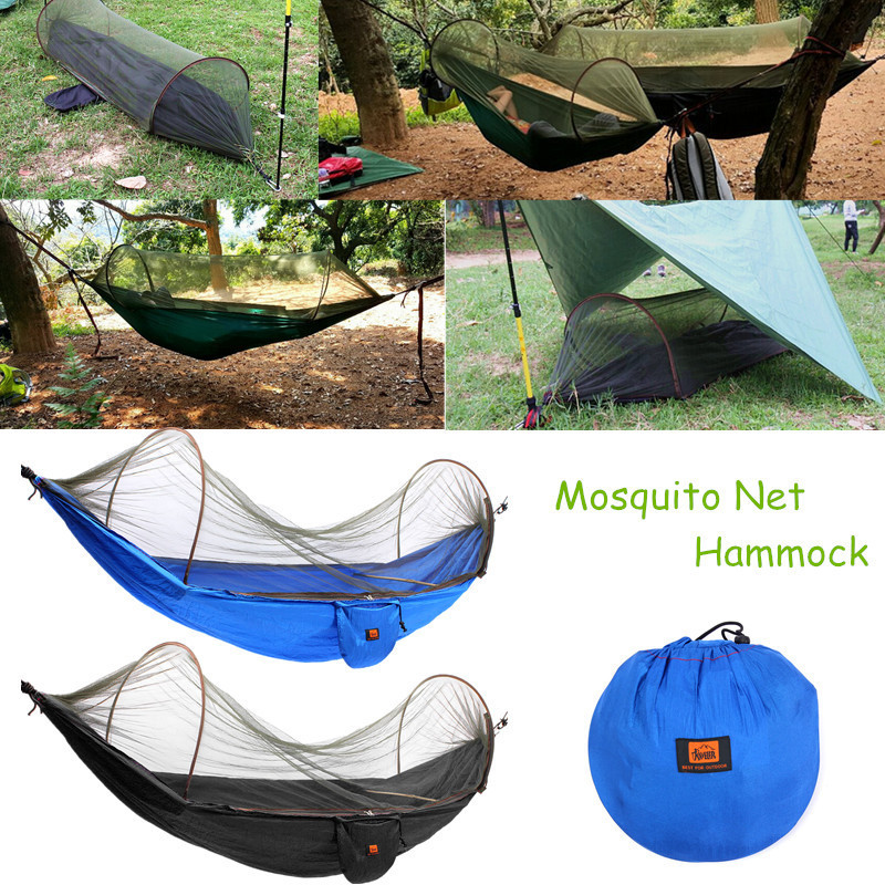 1-2 Person Outdoor Mosquito Net Parachute Hammock Camping Hanging Sleeping Bed Swing Portable Hammock Tent 2.5x1.2M1-2 Person Outdoor Mosquito Net Parachute Hammock Camping Hanging Sleeping Bed Swing Portable Hammock Tent 2.5x1.2M