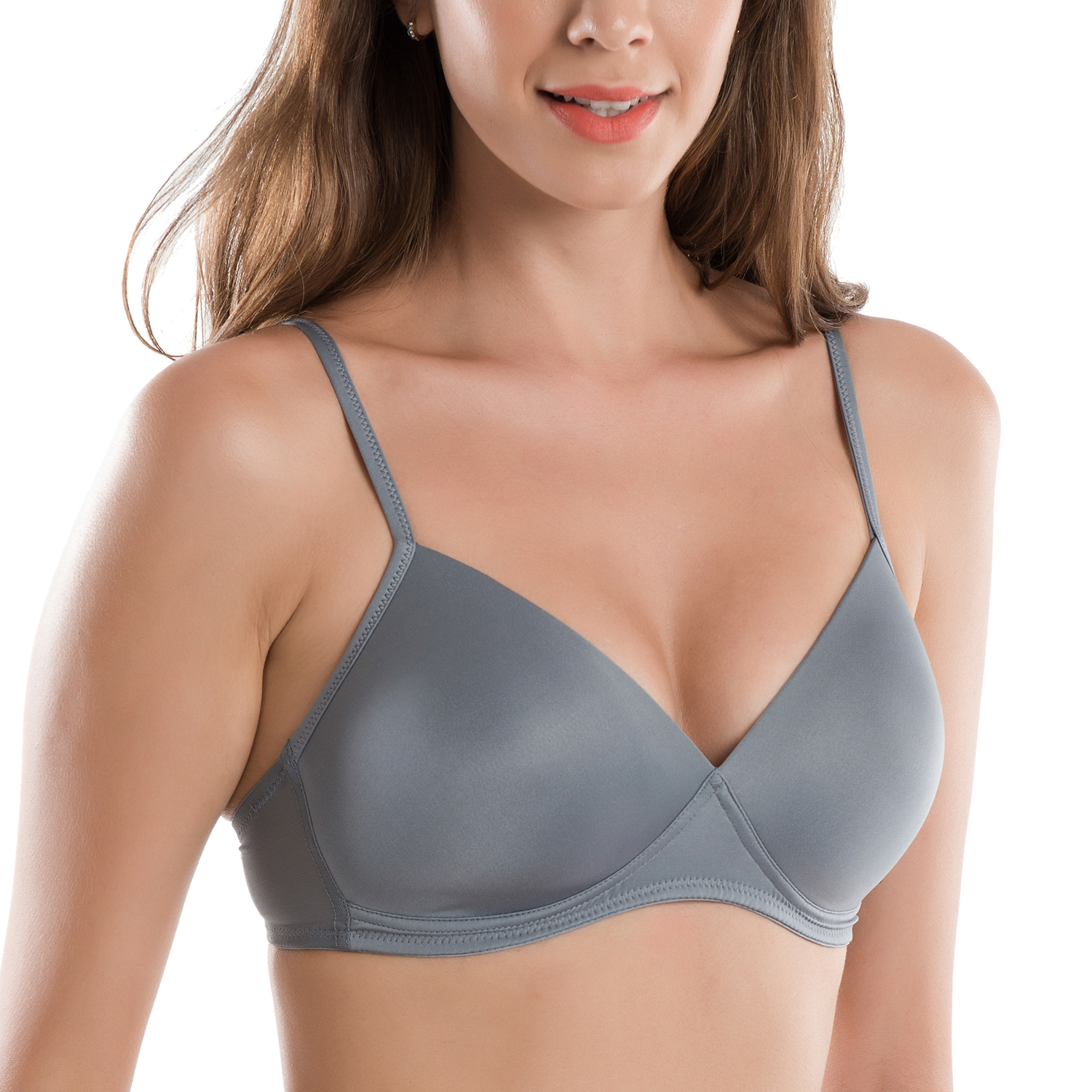 df780af32e6 Women s Wirefree Full Coverage Triangle Contour T shirt Bra-in Bras ...