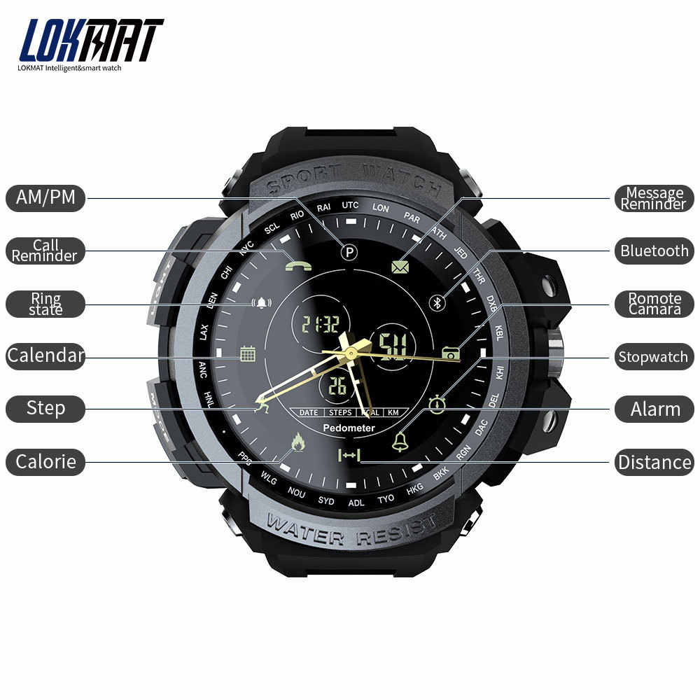 9ed1ae79c05 ... LOKMAT Sport Smart Watch Professional 5ATM Waterproof Bluetooth Call  Reminder Digital Men Clock SmartWatch For ios ...