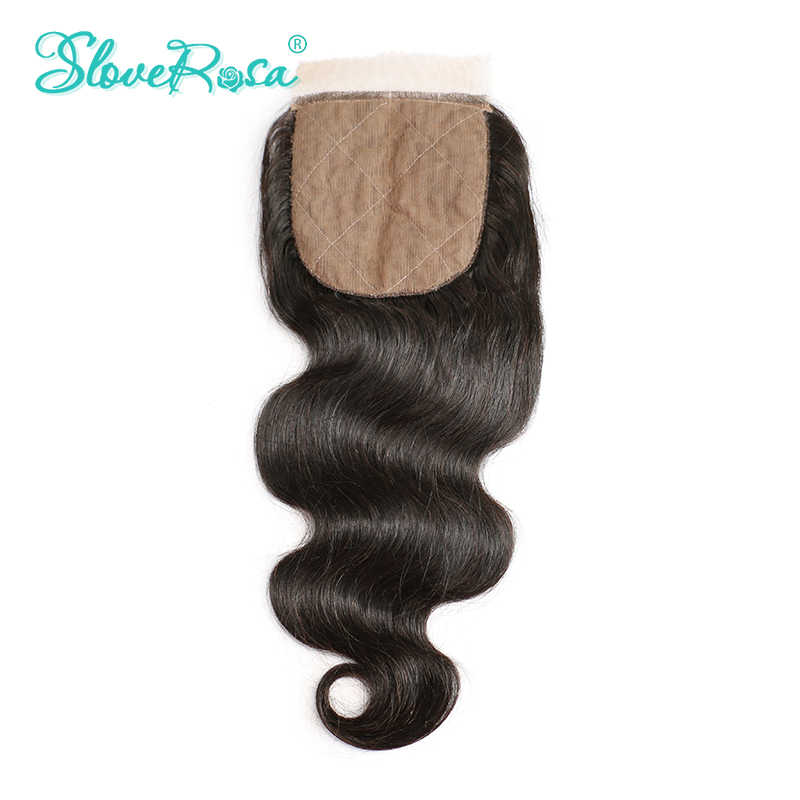 Slove Rosa шелковая основа закрытие тела волна Remy перуанские человеческие волосы 4x4 средней длины коричневые с сеткой средняя часть отбеленные узлы Бесплатная доставка