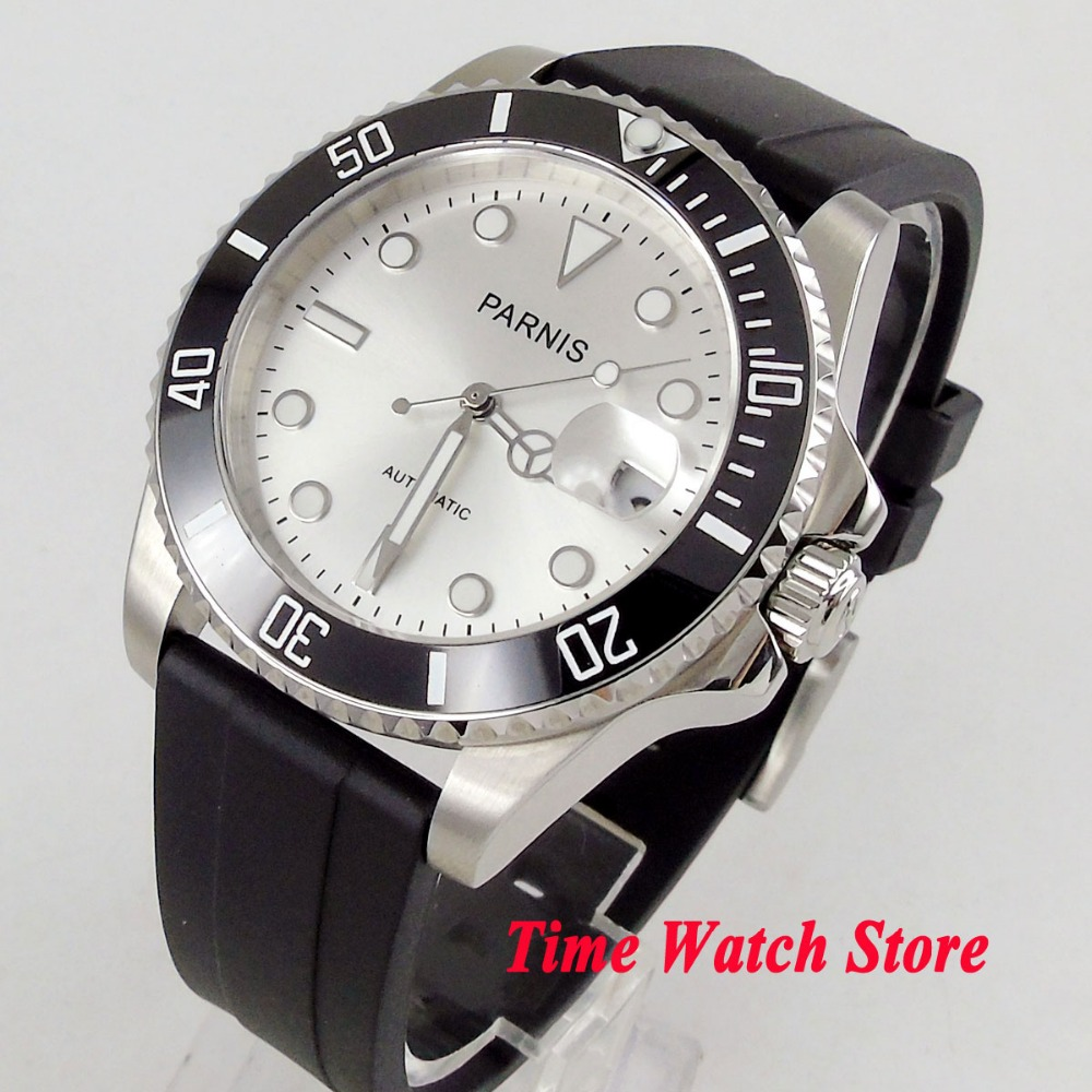 цена 40mm PARNIS watch silver dial luminous sapphire glass black ceramic bezel 21 jewels MIYOTA Automatic movement men's watch 462 онлайн в 2017 году