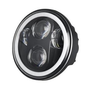 """Image 2 - 1X 黒クローム 5.75 """"hid led ヘッドライトハイ/ロービーム 5 3/4"""" フロント駆動ヘッドライトヘッドランプハーレーモータープロジェクター用"""