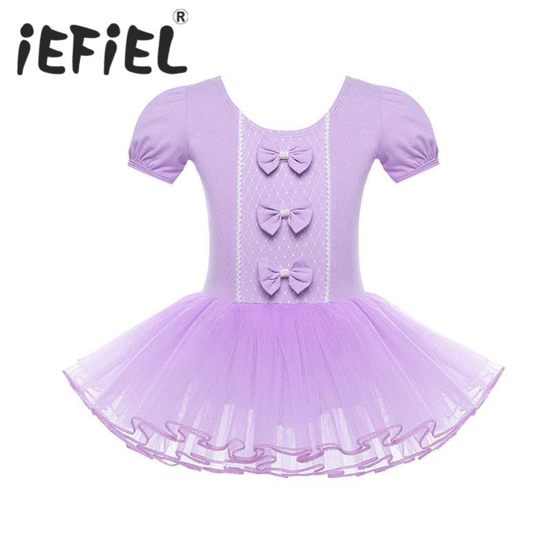 iEFiEL Girls Mesh Short Sleeves Princess Ballerina Fairy Party Ballet Leotard Tutu Dance Dress Child Girls Gymnastic Dancewear
