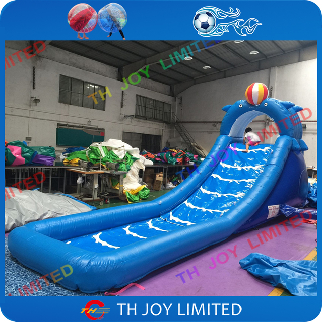 Free Shipping924mH Inflatable Dolphin Slide With Pool For Kids Fun