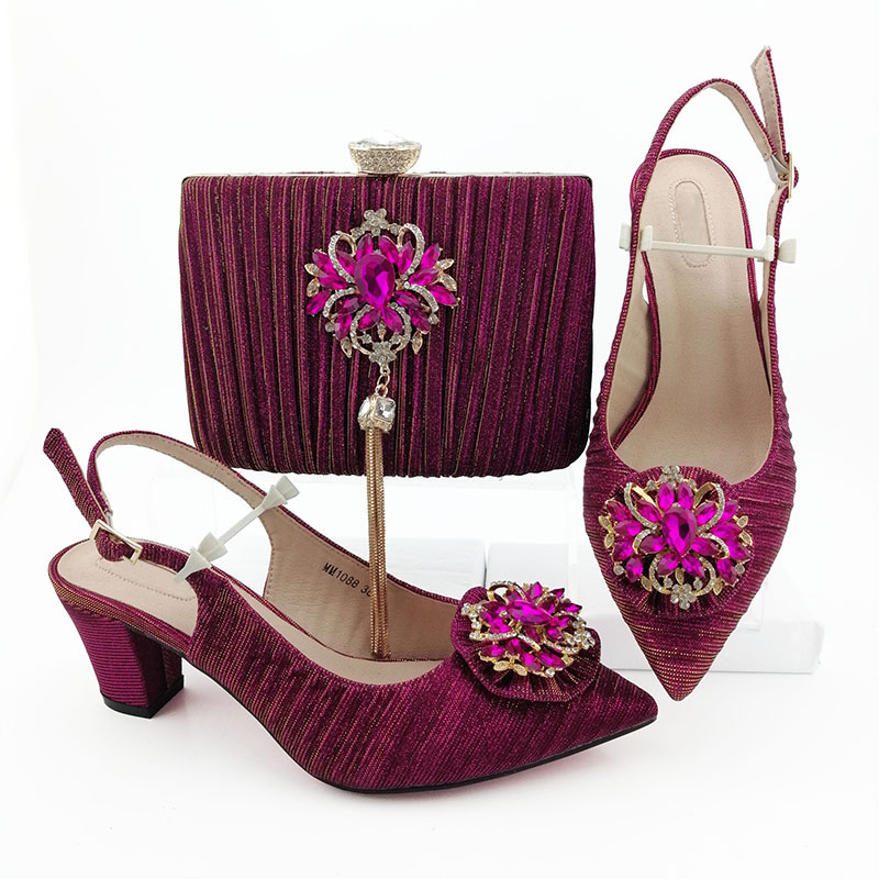 Italian Ladies Matching Shoe and Bag Material with Crystal Nigerian Shoes and Bags Set for Party
