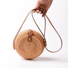 купить Women Hand Woven Rattan Shoulder Bag Beach Handwoven Round Handbag Bags Straw Pouch PU Leather Strap Crossbody Messenger Bag дешево