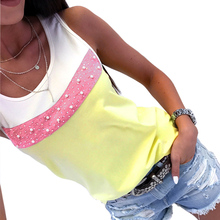 2018 Fashion New Arrivals Casual Summer Women T shirt Pearl Patchwork Sleeveless Female Tops Shirts Summer Tops For Women 2018