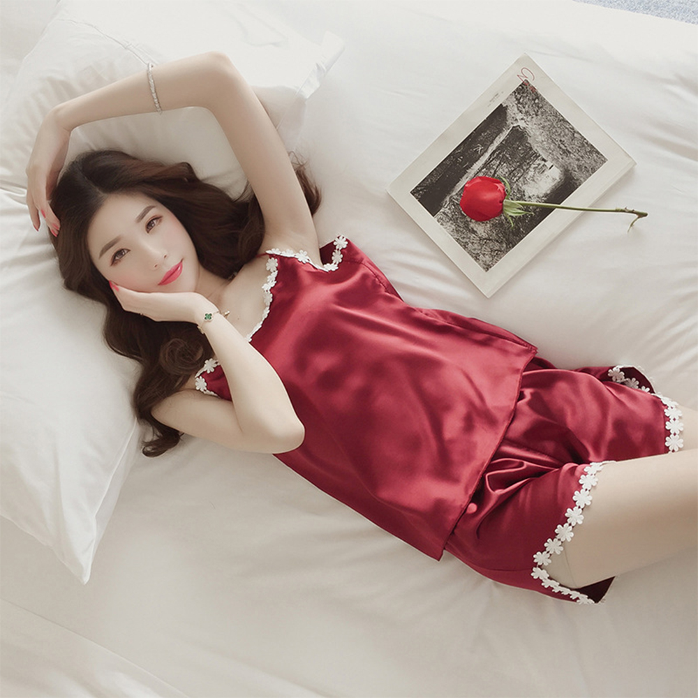 Sexy Summer Sleepwear for Women Sleeveless Ice silk Trim Satin Shorts   Pajama     Set