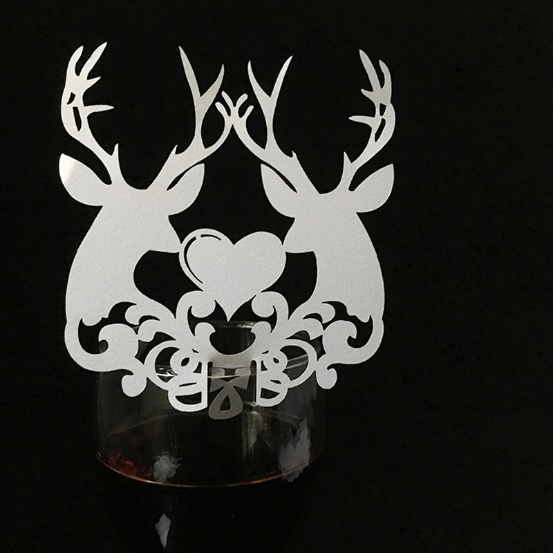 50pcs Laser Cut Christmas Deer Love Heart Wine Glass Card Table Place Escort Cup Card Wedding Birthday Party Decorations