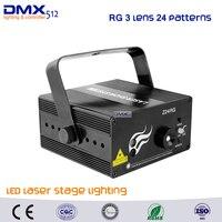 Dhl free shipping rg 3 lente 24 patrones led proyector láser Remoto del Efecto de etapa Iluminación 3 W Azul Para El Partido Del Disco de DJ Del Club láser