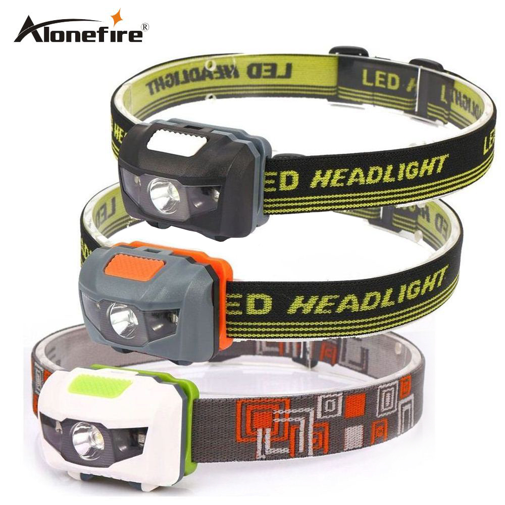 AloneFire HP30 Headlamp 4 Mode Lightweight Waterproof LED Head Light Camping Head Lamp Travel Mini Hike Headlight AAA Battery