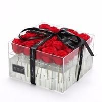 Vendita calda matita per gli occhi del basamento del fiore della rosa confezione regalo di stoccaggio supporto per gli amanti in acrilico con coperchio