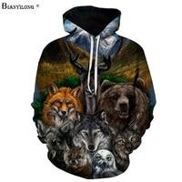 3D Hoodies Mannen/Vrouwen Sweatshirts Bear Wolf Uil Vos Gedrukt Trui Novelty Trainingspakken Fashion Hooded Streetwear S-6XLBIANYILONG