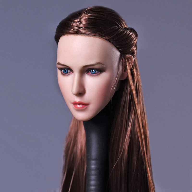 1/6 Scale Girl Womens Head Sculpt With Long Straight Brown Hair For 12 Inches Female Figures Dolls DIY Accessories Brinquedos 1 6 scale asian men with beard head sculpt for 12 inches male bodies figures dolls accessories brinquedos gifts toys
