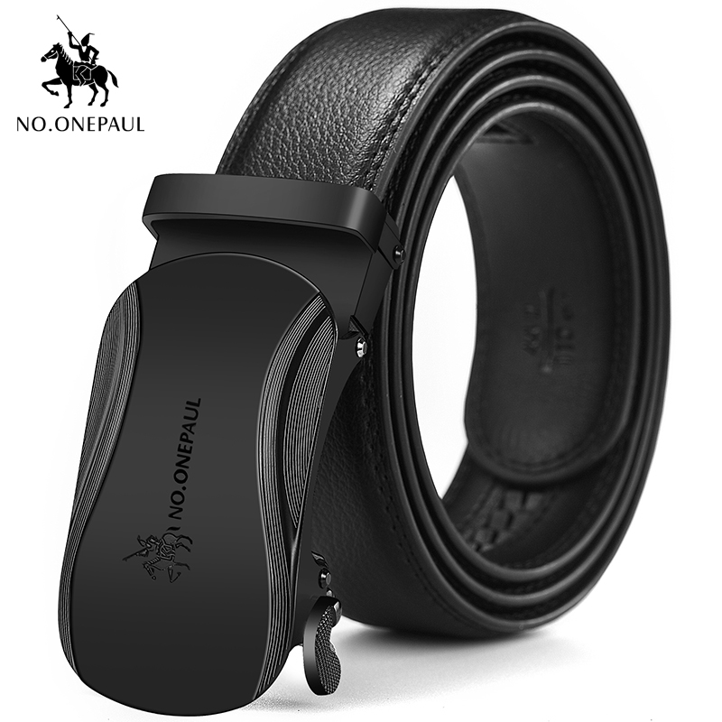 NO.ONEPAUMen Belt Business Style Fashion Contour Design Appearance Alloy Material Automatic Buckle Dark Type Leather Wideband