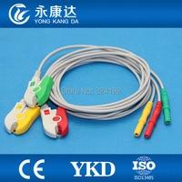 DIN Snap Afgeschermde ECG Trunk Kabel met 3ld patiënt kabel  IEC  Clip voor Biosys/Datascope/Nihon Kohden/Colin/CSI