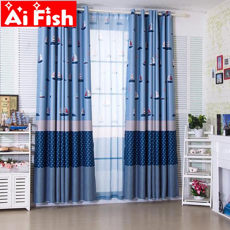 US $5.86 37% OFF|Mediterranean Cartoon Blue Sailing Lighthous Sheer  Curtains Childrens Bedroom Insulation Semi blackout For Living Room DF067  40 -in ...