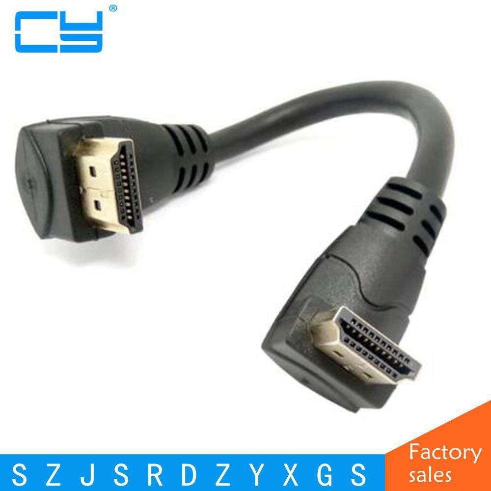 Alta Qualidade HDMI 2.0 4 K 3D Dual Up Angular de 90 Graus HDMI Macho para Macho Cabo para DVD PS3 HDTV PC 30 cm/60 cm/180 cm