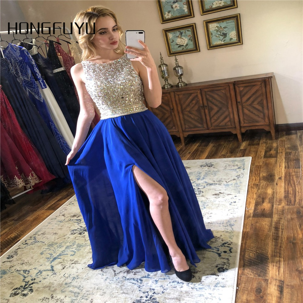 Sexy Side Split   Prom     Dresses   2019 Scoop Sleeveless Backless Beads Crystal Formal Party Gowns Cheap Chiffon   Prom   Party   Dress