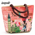 New Fashion Lunch Bags European Large Capacity Storage Boxes Womens Children Thermal Vintage Style Zipper Opening Bag