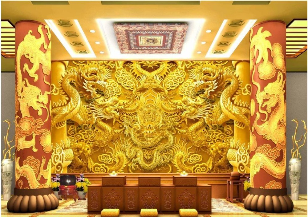 3d Wallpaper For Room Golden Dragon Backdrop Living 3d Wallpaper Mural 3d Wallpaper 3d Customized Wallpaper