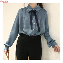 Tiered Turn-down Collar Bow Knot Velvet Plicated Long Sleeve Girl Blouse Shirt Summer Spring Smooth Comfortable Blousing