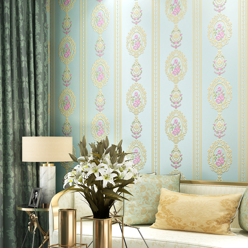 Modern Stripped Wall Paper Floral Non Woven Pink Flower Wallpapers for Bedroom Wedding Room Walls Blue Beige Paper Contact Mural non woven bubble butterfly wallpaper design modern pastoral flock 3d circle wall paper for living room background walls 10m roll