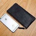 LANSPACE men's leather long wallet brand thin zipper purse fashion coin purse holders