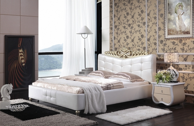 diamond tufted contemporary modern genuine leather sleeping bed King ...