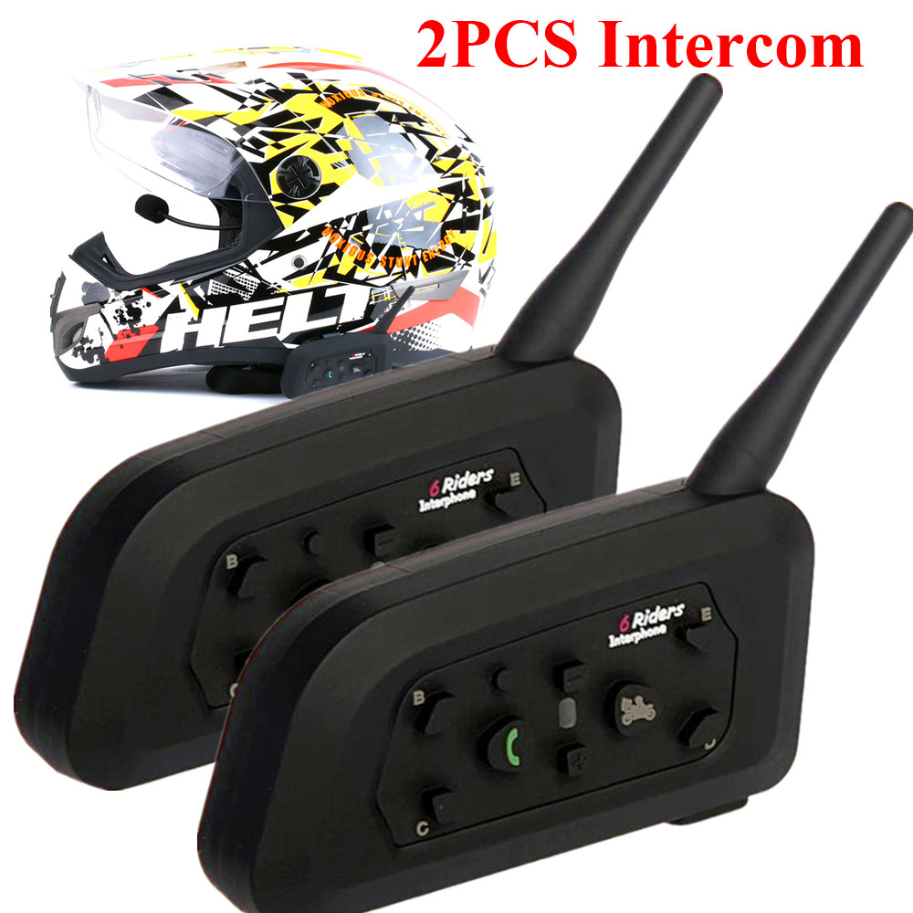 2PCS Synchronous Motorcycle Intercom 1200m Wireless Helmet Headset Multi-Interphone Bluetooth Intercomunicador Moto Speaker
