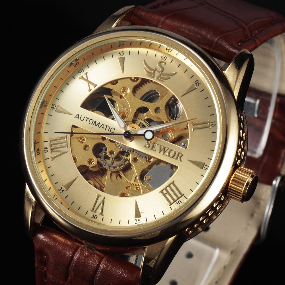 Prix pour Casual nouveau sewor marque squelette creux de mode automatique mécanique hommes mâle de luxe d'affaires en cuir armée sport cadeau montre-bracelet