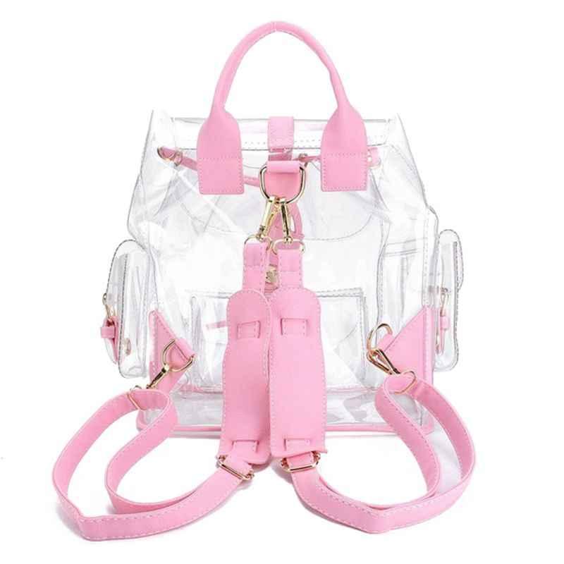 adf8572fcd72 ... 2018 новая модная одежда для девочек розовый ясно, милые  Водонепроницаемый ПВХ прозрачный рюкзак школьный портфель ...