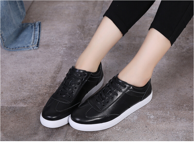 women shoes Genuine leather Lace-Up flats white shoe Soft bottom loafers Casual Shoes size 35-40 15