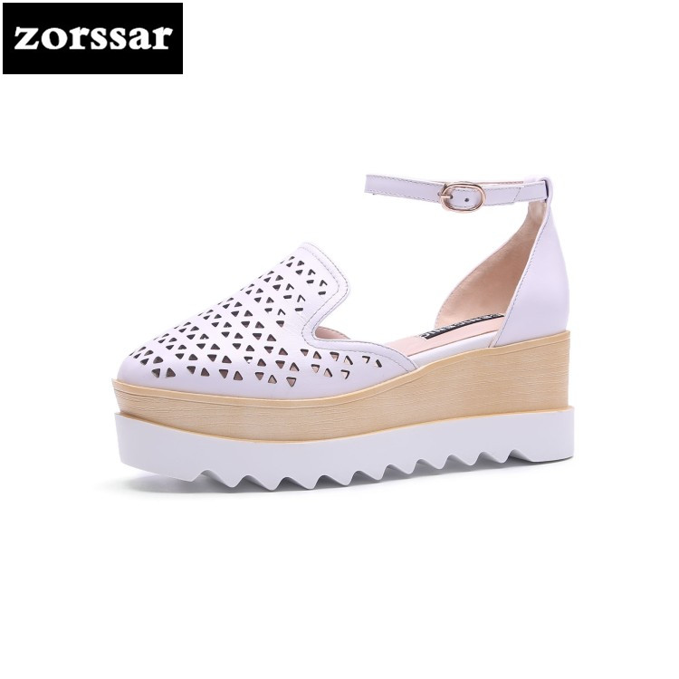 {Zorssar} 2018 Fashion Genuine Leather Wedges Women Sandals Open Toe Summer Shoes Women platform High Heels Sandals Party shoes hot 2018 summer new fashion women sandals wedges shoes high heel sandals platform open toe buckle casual shoes