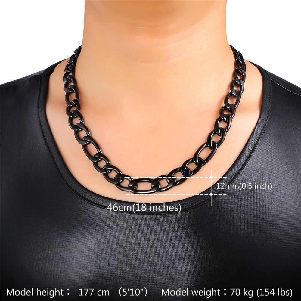 U7 złoty kolorowy naszyjnik mężczyzn łańcuch biżuteria czarny hurtownia 5 rozmiarów 12MM nowy modny duży naszyjnik łańcuch figaro N547