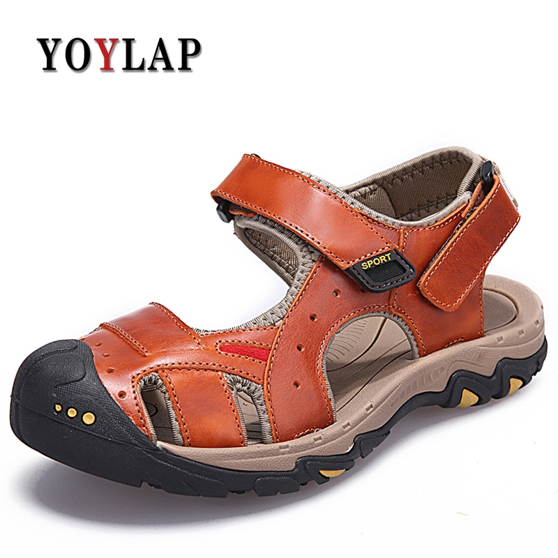 2018 Fashion Quality Genuine Leather Men Sandals Mesh Soft Fisherman Summer Casual Shoes Men Beach Sandalias Men Shoes Size 45