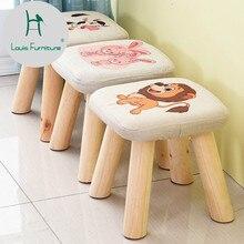 Луи мода небольшой стул твердой древесины диван ткань квадратный тип гриба короткие творческой носить обувь