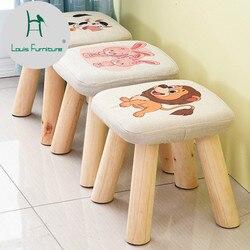 Louis mode petit tabouret en bois massif canapé tissu carré champignon Type court créatif porter des chaussures