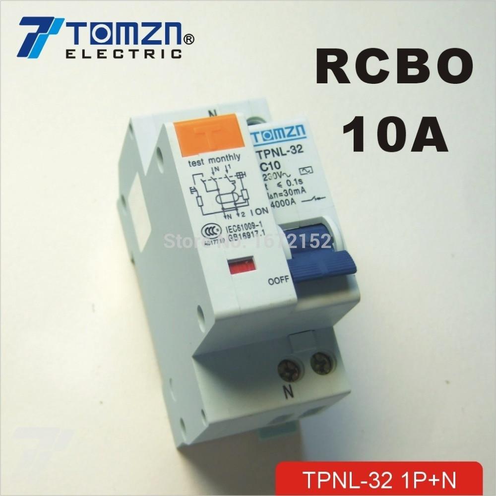 TOB3L-32F 18 mm RCBO 20 A 1P+N 6KA courant résiduel disjoncteur