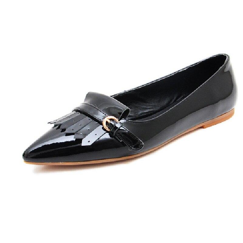En 25 Mocassins 61 Qualité Appartements Cuir Top rose Chaussures Apricot Mode Femmes Red De Fringe Brevet black Plates wrzrqdFI
