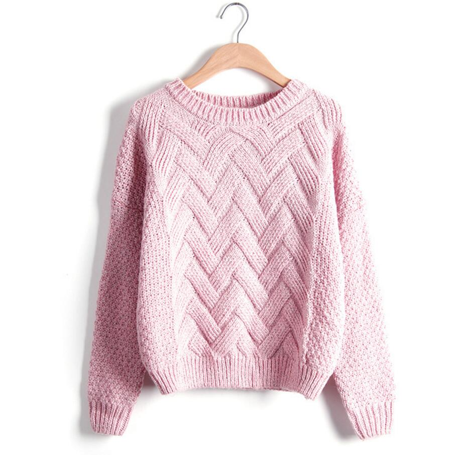 613ffb5b5 Winter Sweater Women Fashion Long Sleeve O-Neck Twist Chunky Cable Thick Knitted  Loose Jumper