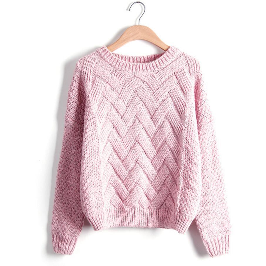 Winter Sweater Women Fashion Long Sleeve O Neck Twist