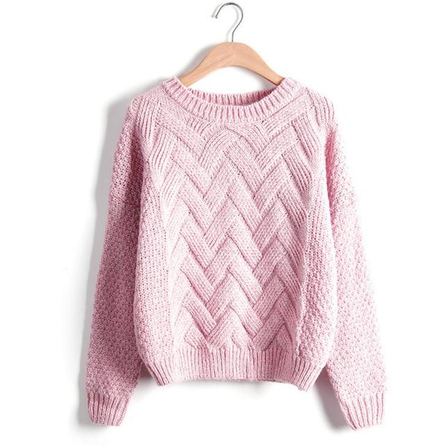 a506f30ee3 Winter Sweater Women Fashion Long Sleeve O-Neck Twist Chunky Cable Thick Knitted  Loose Jumper